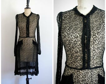 Antique Vintage 30's 40's Sheer Black Fine Handmade Lace Midi Dress  / Extra Small to Small