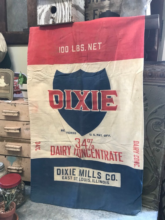 Feedsack - Dixie Dairy Concentrate Feed Dixie Mills Co 100 lb cloth sack East St Louis IL