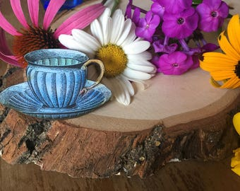 blue teacup pin, gift for your quirky friend