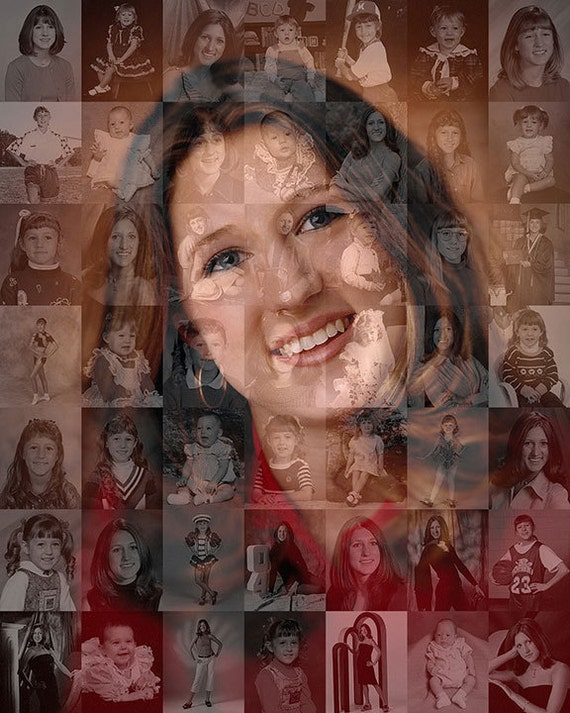 Unique personalized graduation gift photo collage mosaic Unique uni gifts under 25