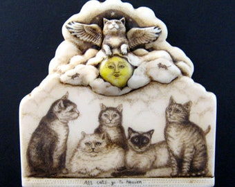 All Cats go to Heaven angel cat mice Moosup wall plaque
