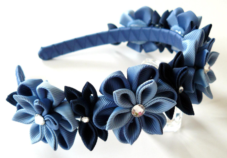 Blue kanzashi fabric flower headband blue flower crown zoom izmirmasajfo Gallery