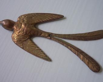 Large Vintage Brass Ox Bird Stamping