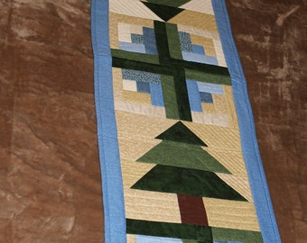 Blue and Gold with Pines Table Runner