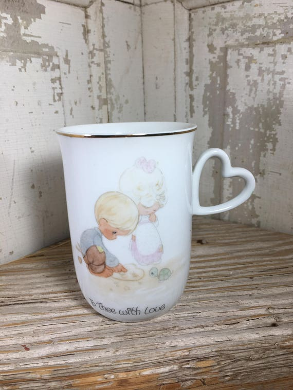 Precious Moments coffee mug 1980, Enesco coffee mug, To Thee With Love coffee mug, Valentines gift, Heart coffee mug, Jonathan and david