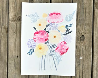 Bouquet of Roses and peonies, original watercolor painting 24 x 32