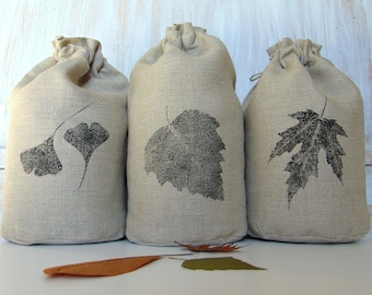 Set of 3 linen storage fabric bag, hand printed, rustic fabric, bread, grocery, food, reusable, drawstring