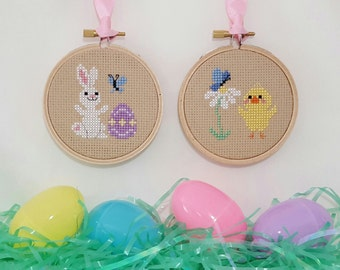Spring Bunny and Chick cross stitch - pattern only