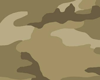 2 1/4 YARDS REMAINING CAMO Collection Tan Camouflage Yardage by Whistler Studios for Windham Fabrics #36383-3 100% Cotton