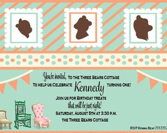 Goldilocks and the Three Bears Birthday Invitation