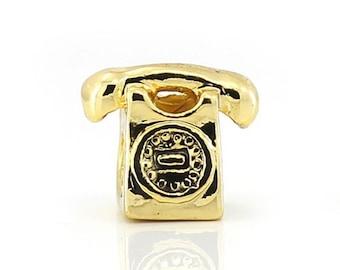 1 Gold Tone Phone Telephone European Charm European Beads Fits Charm Bracelets - 9L