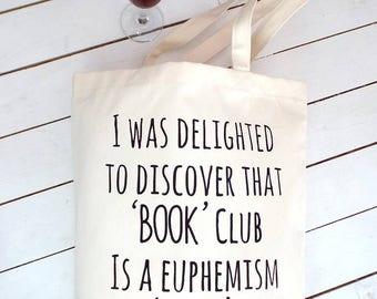 Book Club Wine Club | Book Club Gifts | Book Bag | Book Lover Gifts |  Book Gift | Gifts For Readers | Books and Wine
