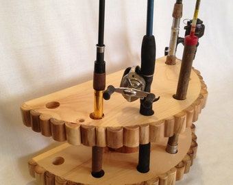 Gift for Men - Fishing Rod Holder - Man Cave Decor - Fishing Pole Holder - Gift for Him - Log Cabin Decor - Rod and Reel