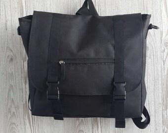 Black Convertible Laptop Messenger Bag Backpack Crossbody Bag Women's Waterproof Fabric Rucksack Cross Body Handbag