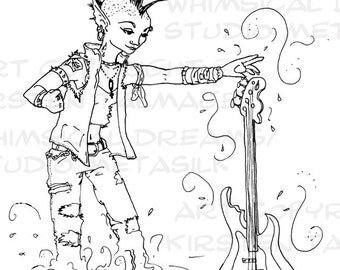 Rocking the Water full-page coloring sheet with punk naiad, water, and guitar (PDF, line art by Kir Talmage)