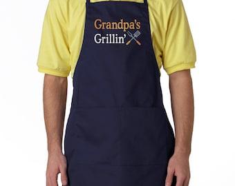 Grandpa grillin apron, Mens apron, Men's Two-Pocket Adjustable Apron, grandpa gift, grandpas bbq apron, grandpa apron
