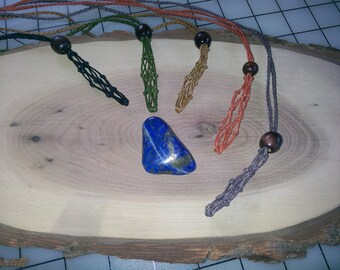 Lapis Lazuli Interchangeable Stone / Healing Crystal Necklace and Adjustable Length Macrame Necklace