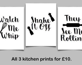 Set of 3 A4 Kitchen Prints | Kitchen