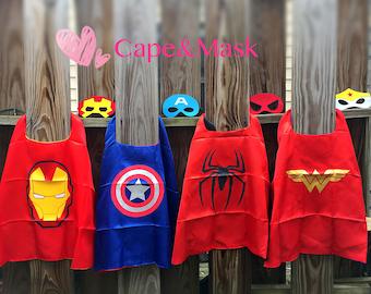 Ready to Ship!Spiderman cape and mask,Wonder woman,Iron man,Captain America,Superhero Birthday, Superhero Party Favors,Superhero Costume