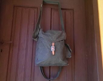 Vintage Shoulder  Cotton Cavnas Bag, Student Bag, Military Messenger Bag from 1970s, Bag USSR type Cold War