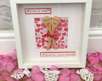 Personalised 'spooning since' Frame - Valentines / anniversary / engagement
