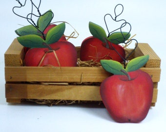 Hand Painted Apple/ Handmade Wooden Apple / By Treasures To Share