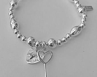 Sterling Silver HEART PADLOCK & KEY Bracelet