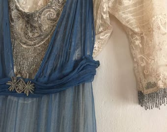RESERVED ~do not buy ~ Antique 1910s Silk Dress / Beading / Tambour Lace /Edwardian /Directoire