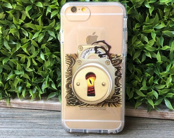 Magical Beasts Lock Phone Case with Pop Up Grip and Stand for iPhone 6, 6 Plus, 7, 7Plus, 8, 8 Plus and X