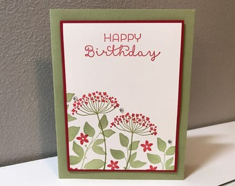 Birthday, Flower Handmade Stampin' Up! Card