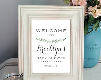 PRINTABLE - Modern Welcome Bridal Shower Sign - Greenery - Script- Calligraphy - Floral