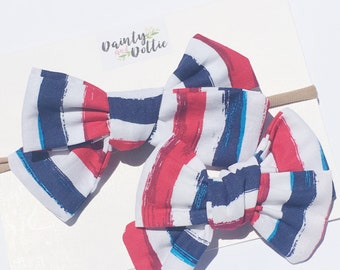 Patriotic chunky stripe Bow