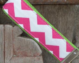 Key Chain-Key Fob-Wristlet- Hot Pink Chevron On Lime-READY TO SHIP