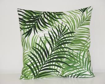 Cushion cover, cotton fabric, living room / bedroom decoration - 40 x 40 cm - Palm / jungle leaf motif fabric, trendy decoration