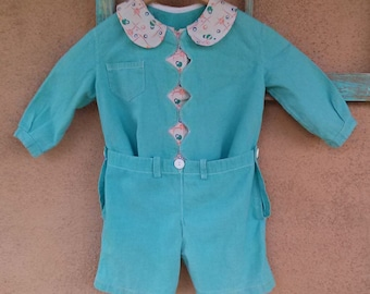 Vintage 1940s Romper Suit Baby Boy Coveralls Playsuit Atomic Novelty Print 3T