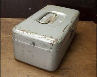 Tool Box - Small Vintage Metal Eagle Lock Silver Toolbox, Cash Box, Stash Box, Craft Box