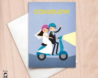Bride & Groom Moped Wedding Congrats - Vespa Wedding Congratulations Greeting Card