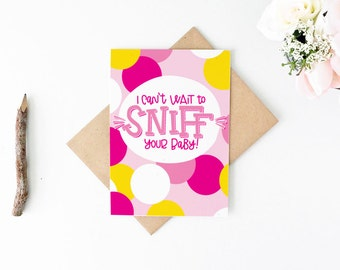 Funny New Baby Card - Funny Baby Shower Card - Sniff Your Baby Card - Girl Baby Shower Gift - New Mom Card - New Dad Card