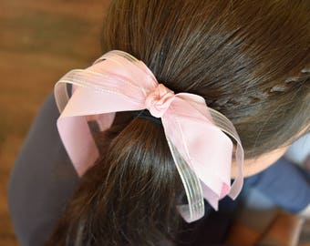 Pony bow...........ponytail clip, hair ribbon,