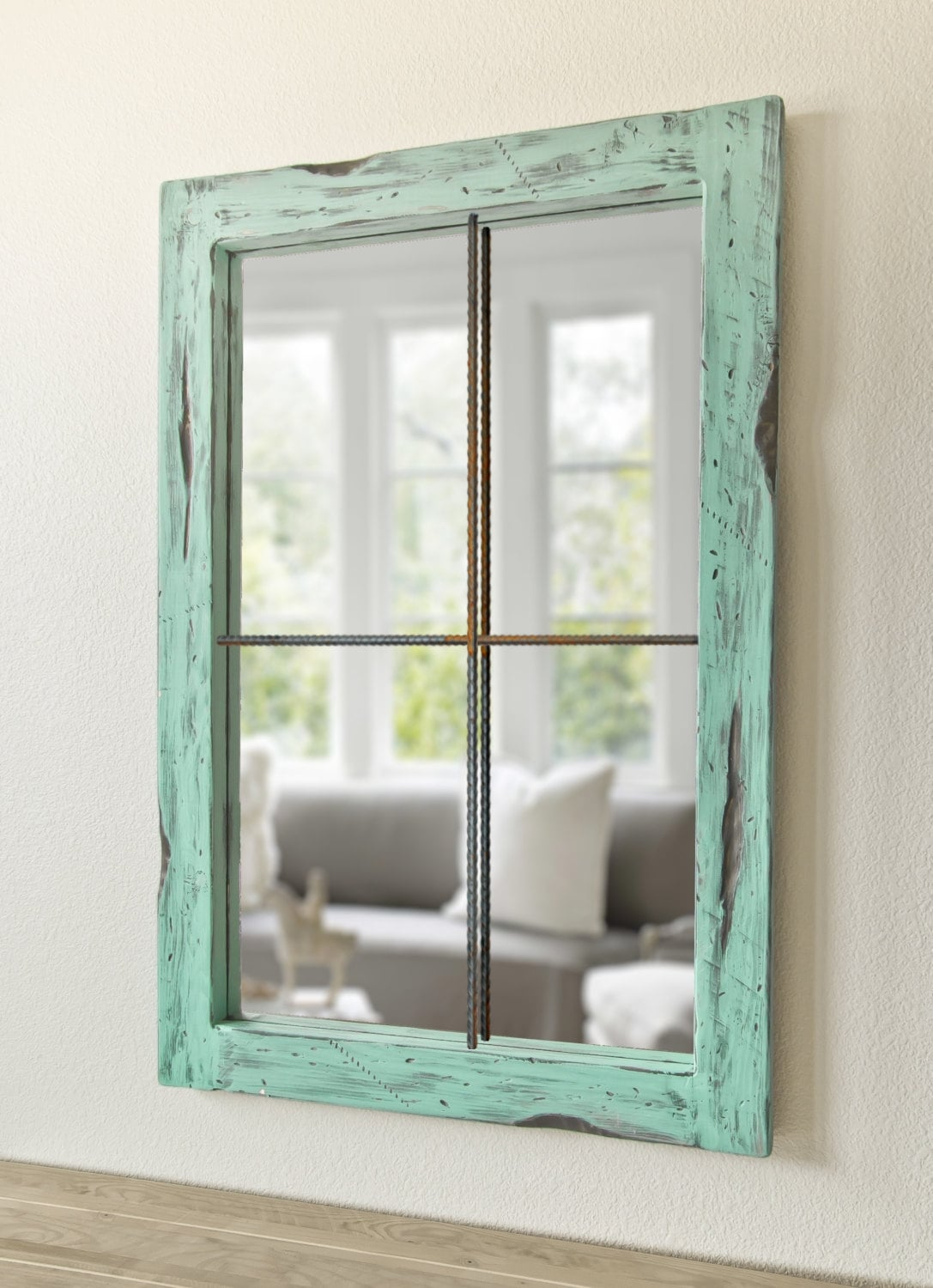 Rustic mirror distressed faux window vintage green zoom altavistaventures Images