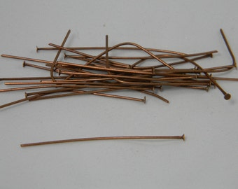 Red Copper Color Head pins 100PK Jewelry Craft Supplies , Head Pins about 2 inches long, Jewelry Findings