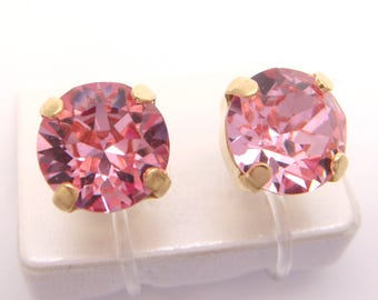 Light rose 6mm or 8mm Swarovski crystal Invisible clip on earrings ,Gold or Silver,Clip On Earrings,Clip-ons,gift for women