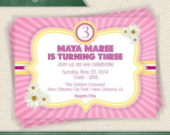 Pink Lemonade - Pink Yellow and Floral Invitation Printable Invite - Personalized for Any Event Add a Photo If You Like