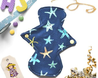Starfish CSP Liner, 8 inch Reusable Cloth Pad, Light, Sanitary, Washable, No Waste Products, Hiccupsandjuice Cloth, Ocean, IN STOCK