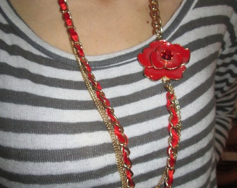 Gold Tone Red Enamel Flower Necklace