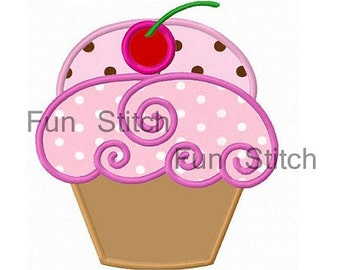 Sweet cherry cupcake applique machine embroidery design