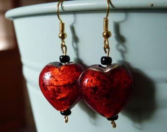 Red heart stone beads earrings