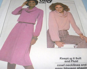 1977 Simplicity 8162 Cowl Neck top with raglan sleeves and skirt size 10-12 Uncut