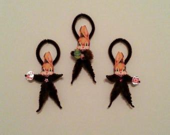 Chenille Ornaments~Bunny Ornaments~Easter Rabbit~Feather Tree Ornie~Rabbit Ornaments