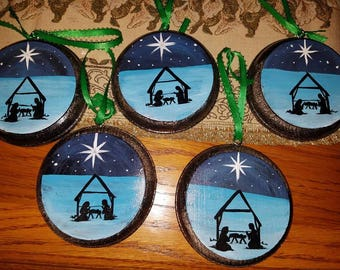 Handpainted Wooden Ornaments In Nativity Theme